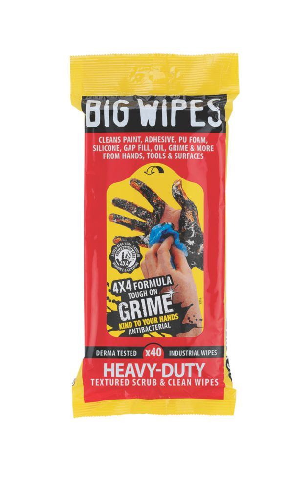 Image of Big Wipes Heavy Duty Scrub & Clean Wipes Blue 40 Pack