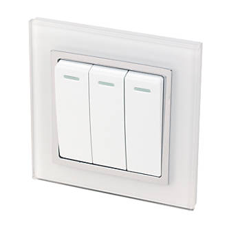 Image of Retrotouch Crystal 10A 3-Gang 2-Way Light Switch White Glass