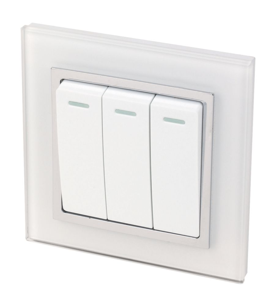 Image of Retrotouch Crystal 10A 3-Gang 2-Way Light Switch Tru White Glass