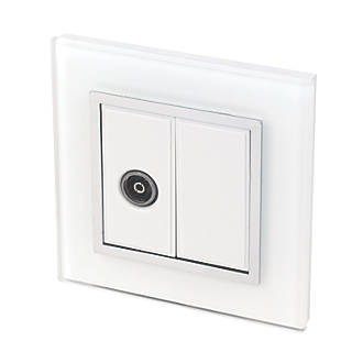 Image of Retrotouch Crystal Coaxial TV Socket White Glass with White Inserts