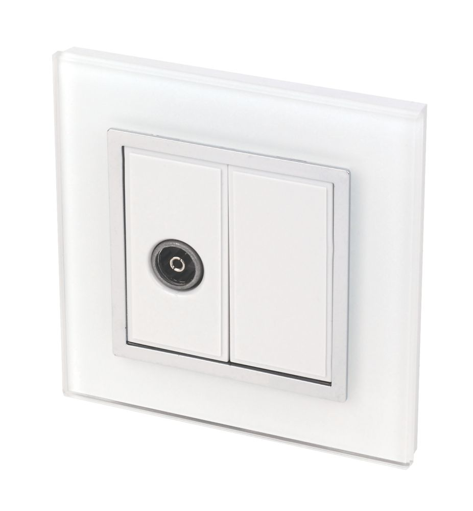 Image of Retrotouch Crystal 1-Gang TV Coaxial Socket Tru White Glass