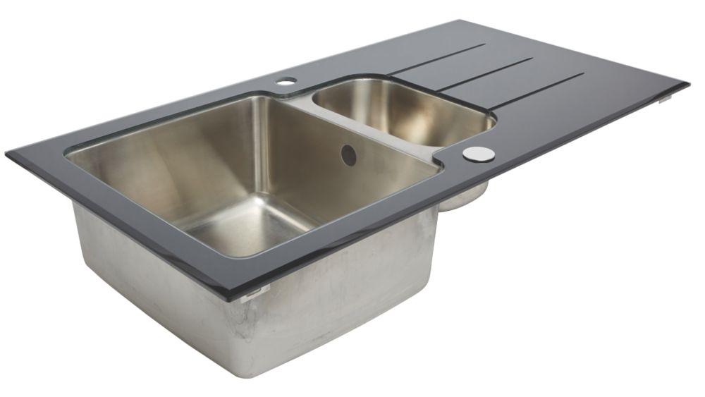 Kitchen Sink stainless steel glass top kitchen sink & drainer 1.5 bowl