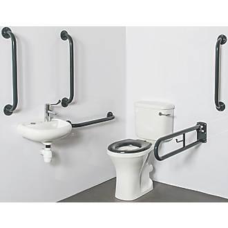 Image of Nymas Close-Coupled Doc M Toilet Pack Dark Grey 14 Piece Set