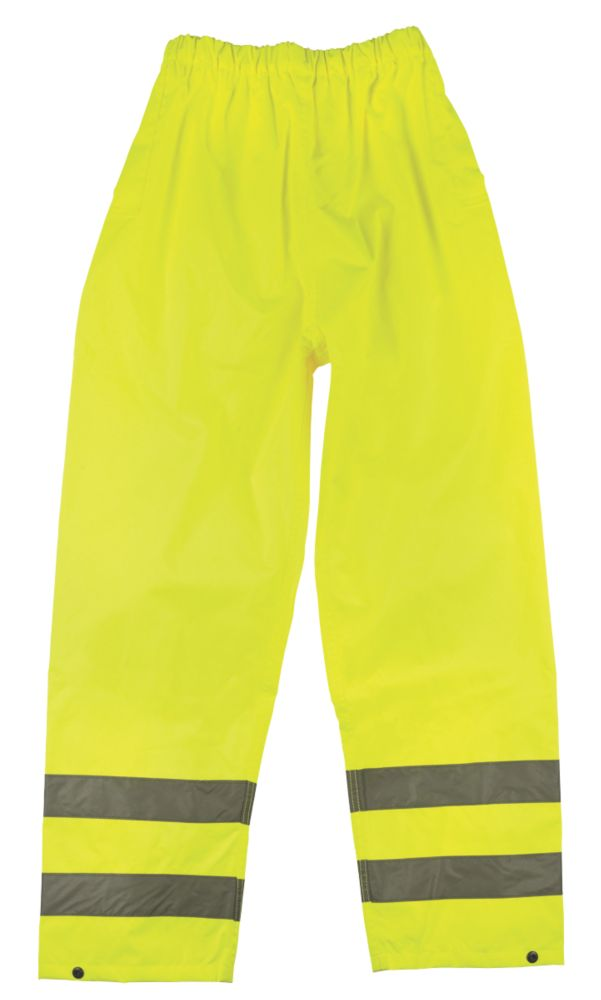 """Image of Hi-Vis Reflective Trousers Elasticated Waist Yellow Large 26-46"""" W 30"""" L"""