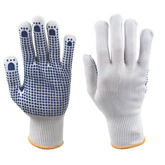 Image of Keep Safe Polka Dot Picking Gloves White/Blue Large