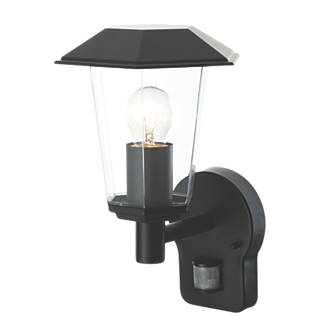 Lighthouse Matt Black Wall Light with PIR 40W