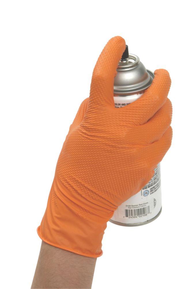 Image of Eppco Tiger Grip Nitrile Powder-Free Disposable Gloves Orange Large 100 Pack