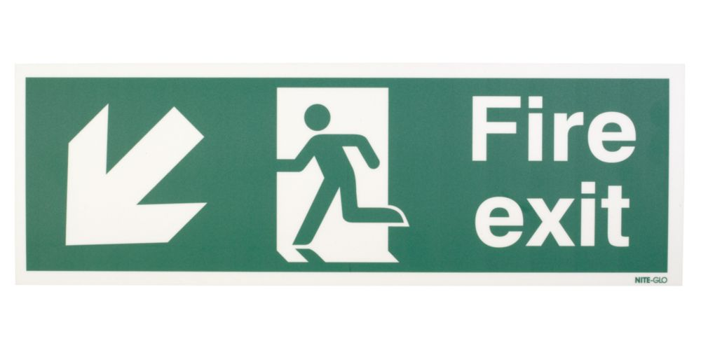 "Image of Nite-Glo ""Fire Exit"" Down Left Arrow Sign 150 x 450mm"