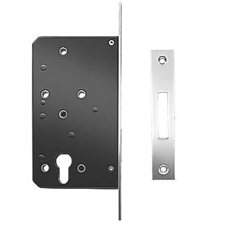 Image of Briton Stainless Steel Square Forend Euro Profile Cylinder Deadlock 93mm Case - 60mm Backset