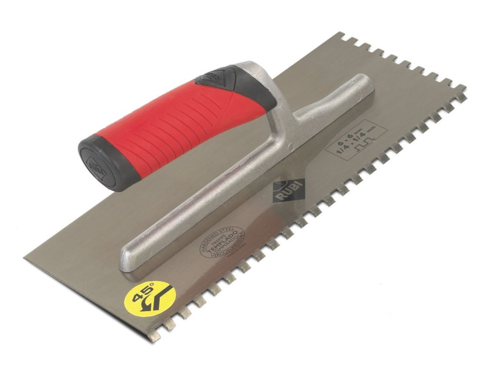 "Image of Rubi 6mm Notched Adhesive Trowel 11"" x 4"""