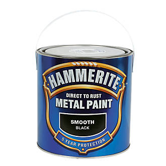 Image of Hammerite Smooth Metal Paint Black 2.5Ltr