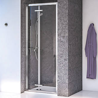 Image of Aqualux Edge 8 Bi-Fold Shower Door Polished Silver 900 x 2000mm