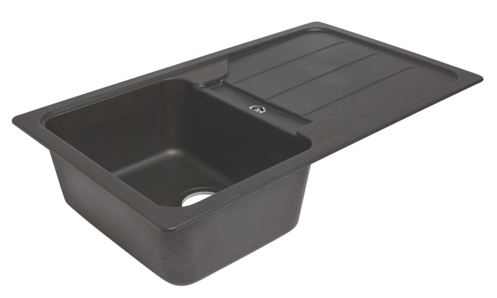 Image of Granite Composite Kitchen Sink & Drainer Black 1-Bowl Reversible 860 x 500mm