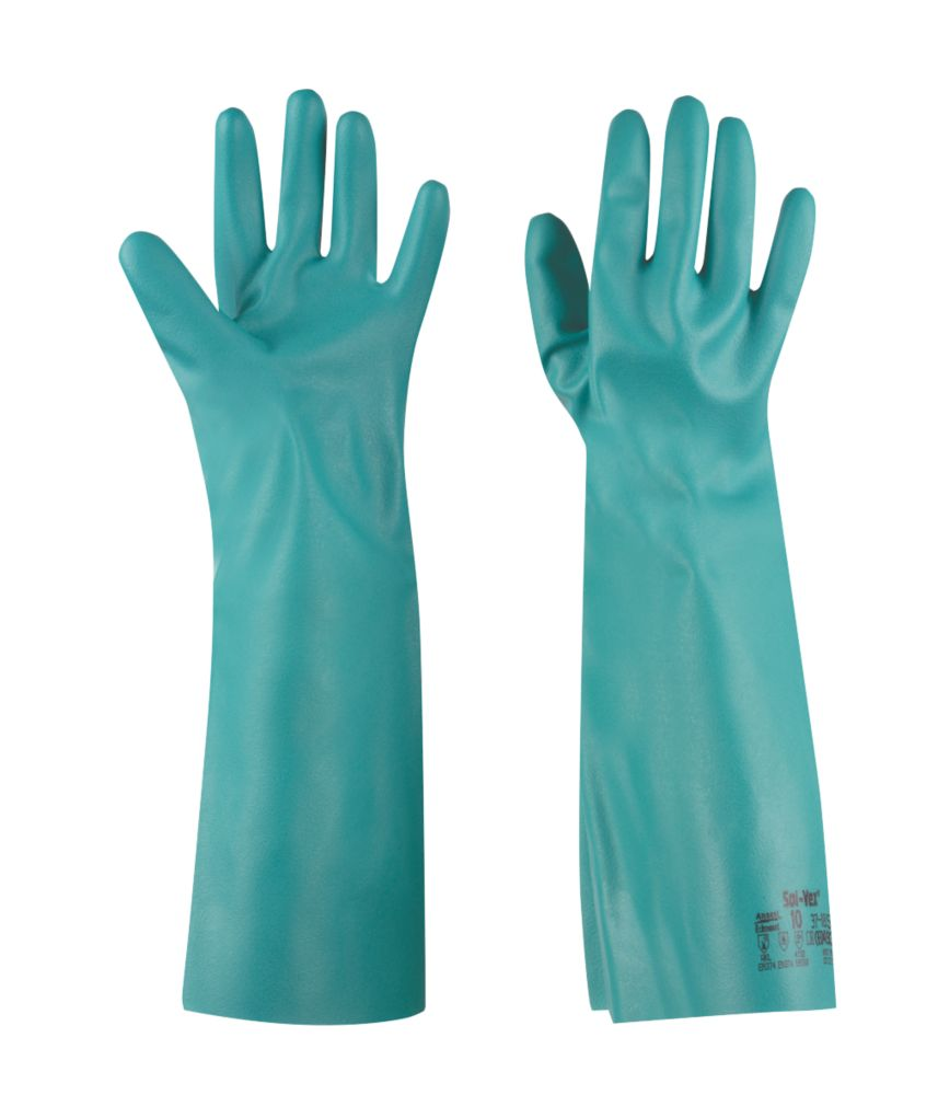 Image of Ansell Solvex 37-185 Chemical-Resistant Gauntlets Green Medium