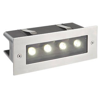 Image of Saxby Seina Recessed LED Brick Light Brushed Chrome 4W