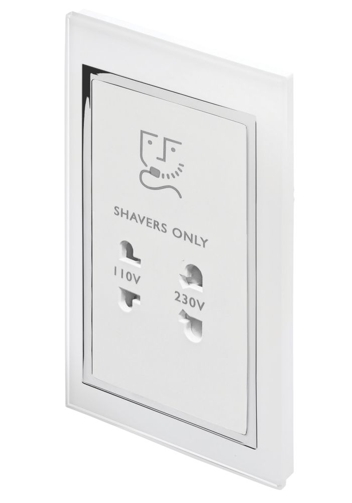 Image of Retrotouch Crystal 2-Gang Dual Voltage Shaver Socket 110 / 220V White Glass