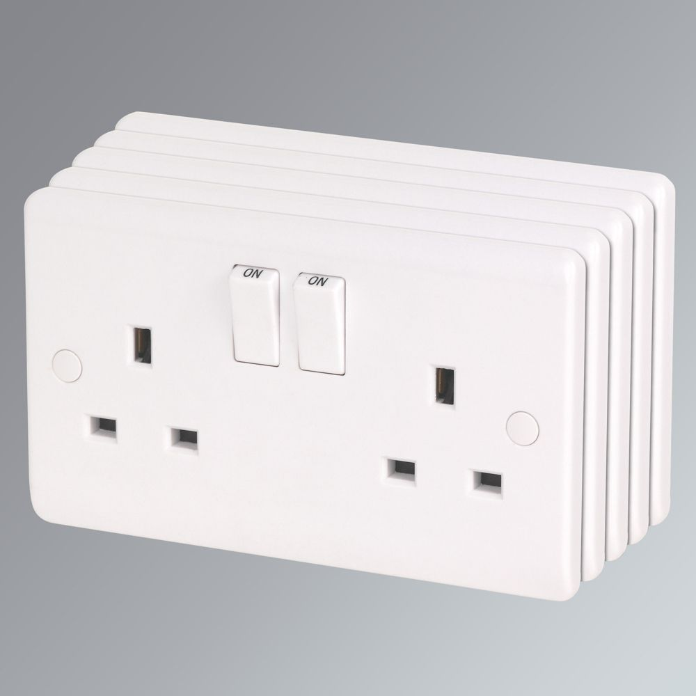Electric Socket Covers Lap 13A 2Gang Dp Switched Plug Socket White Pack Of 5  Switches