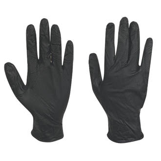 Image of Juba Grippaz Nitrile Powder-Free Disposable Gloves Black Large 50 Pack
