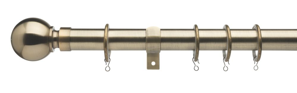 Image of Universal Extendable Metal Curtain Pole Antique Brass 28mm x 1800-3200mm