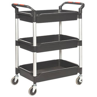 Image of Proplaz Plus Black 3-Shelf Tub Trolley