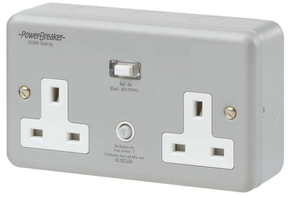 Image of 13A 30mA Double Pole Passive RCD Metal-Clad