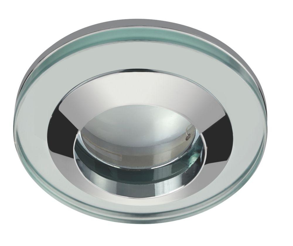 Bathroom Lights Screwfix sensio fixed round glass shower light chrome 240v | led downlights