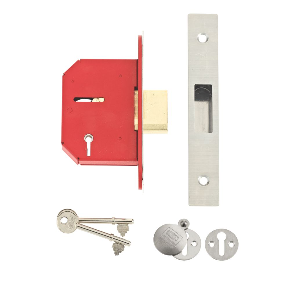 """Image of Union 5-Lever 5-Lever Mortice Deadlock Stainless Steel 2"""" / 64mm"""