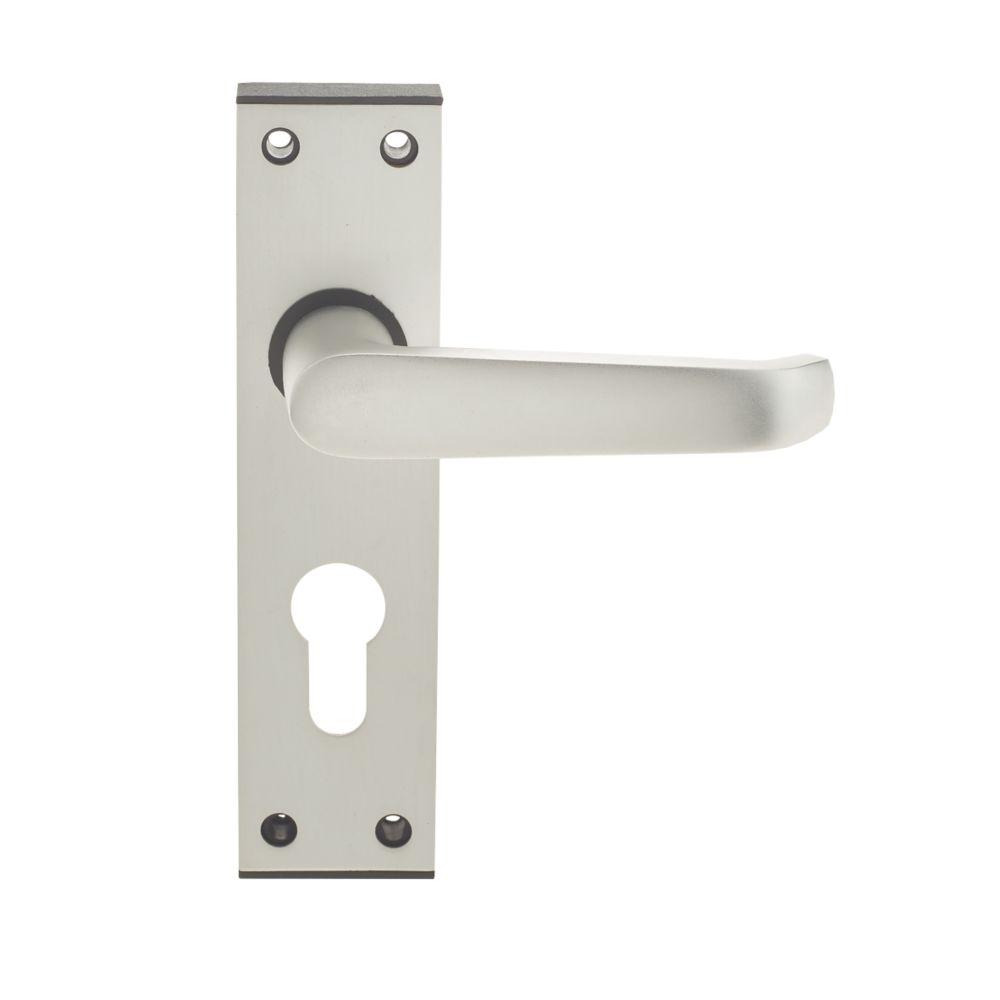 Image of Union Ambassador Lever on Backplate Euro Lock Door Handle Pair Satin Aluminium