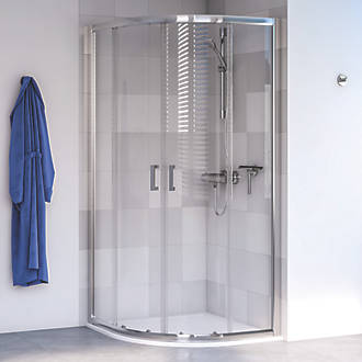 Image of Aqualux Edge 6 Quadrant Shower Enclosure LH/RH Polished Silver 800 x 800 x 1900mm