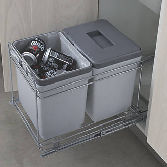 Image of Hafele Pull-Out Waste Bin System Grey 2 x 15Ltr