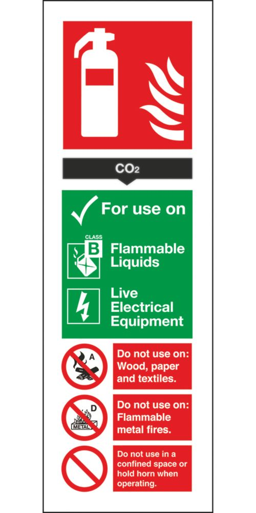 Image of CO Extinguisher ID Signs 280 x 90mm 100 Pack