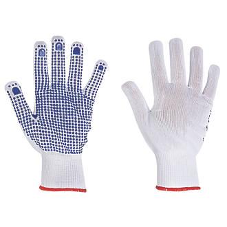 Image of Keep Safe Polka Dot Picking Gloves White/Blue Medium
