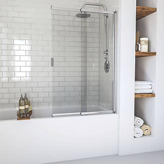 Aqualux Bath Screen Framed Polished Silver 820 X 1275mm