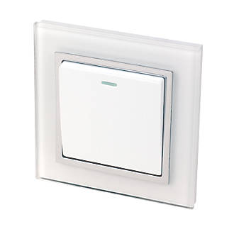 Image of Retrotouch Crystal 10A 1-Gang 2-Way Light Switch White Glass