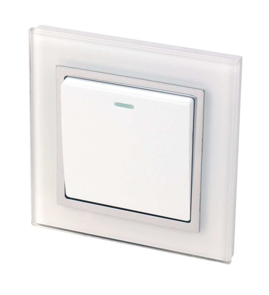 Image of Retrotouch Crystal 1-Gang 2-Way 10A Switch Tru White Glass