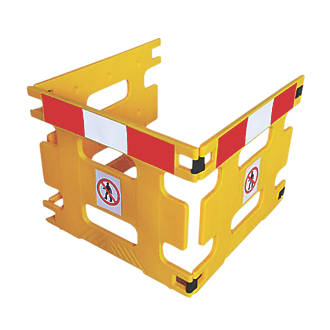 Image of Addgards Handigard 3-Panel Barrier Yellow w/Red & White Stripe