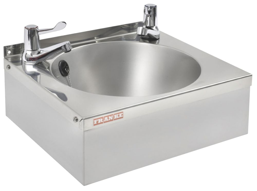 Image of Franke Model B Round Wall-Hung Washbasin 2 Taps S/Steel 1-Bowl 340 x 345mm