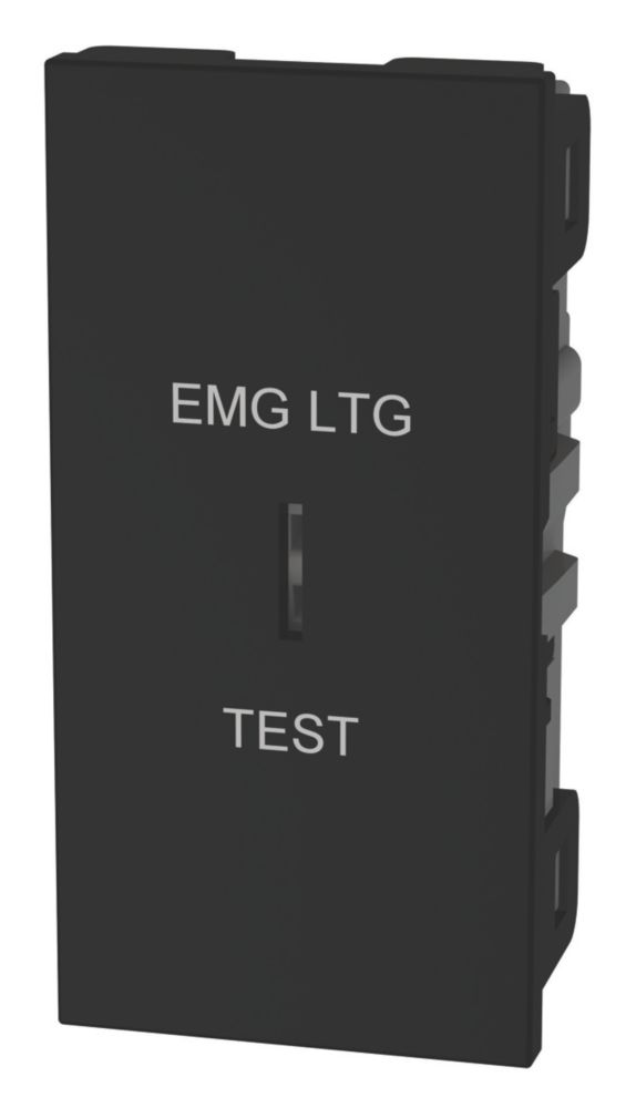 """Image of LAP 2-Way 16AX Key Switch with """"Emergency Lighting Test"""" Text Black"""