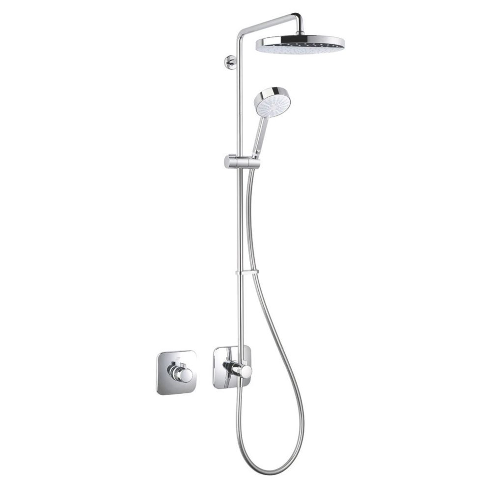 Image of Mira Adept Rear-Fed Concealed Chrome Thermostatic Shower w/Hand Shower/ Deluge Head