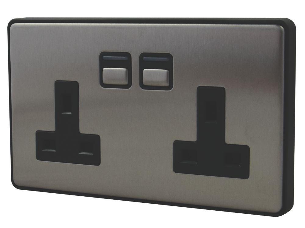 Image of Lightwave 13A 2-Gang SP Smart Socket Brushed Stainless Steel