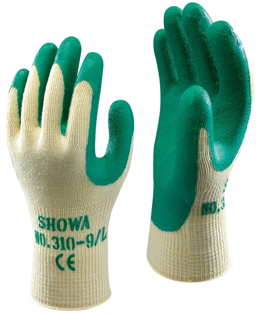Image of Showa 310G Latex Grip Gloves Green X Large