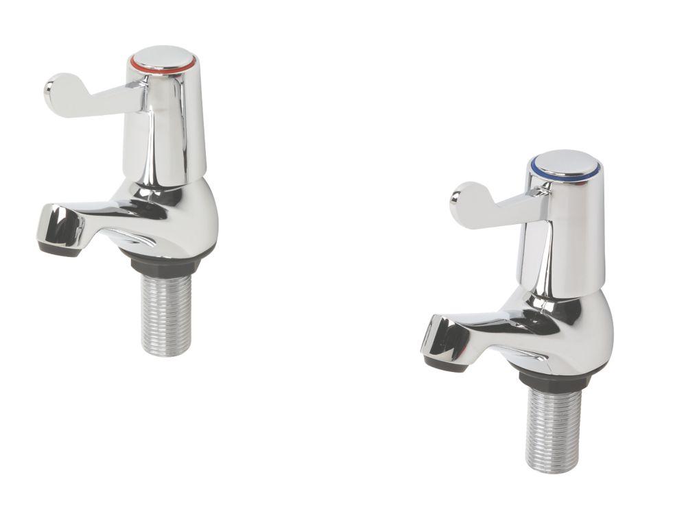 Image of H & C Turn Bathroom Basin Taps Pair