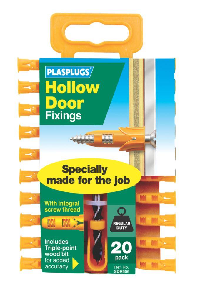 Image of Plasplugs Hollow Door Fixings Yellow 3.5mm 20 Pack