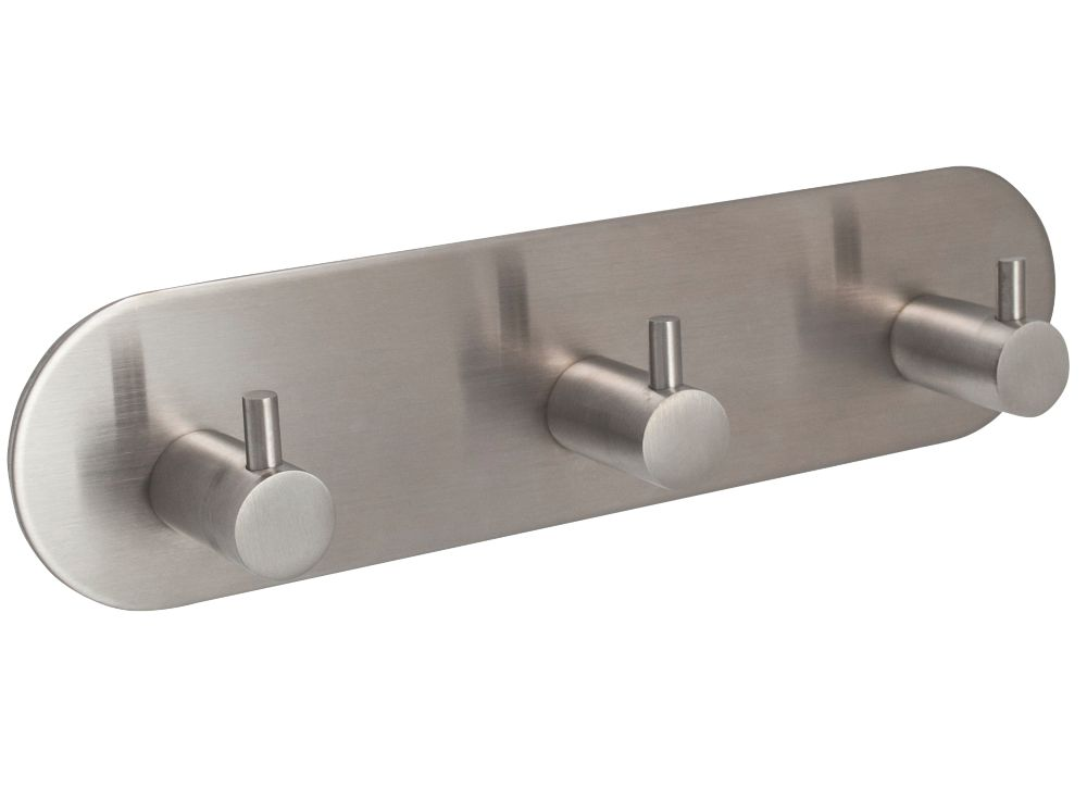 Image of Eclipse 3-Hook Straight Clothes Hook Rail Satin Stainless Steel 192 x 48mm