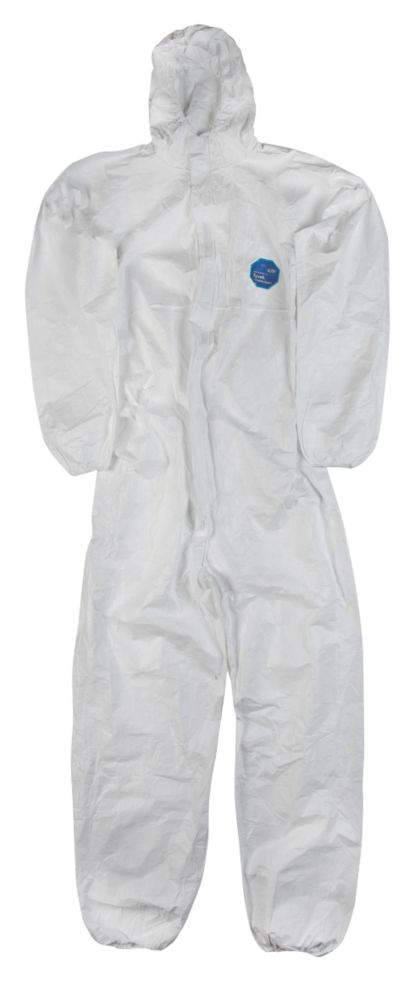 "Image of Tyvek CH5 Classic Hooded Disposable Coverall White Large 40-42"" Chest 32"" L"
