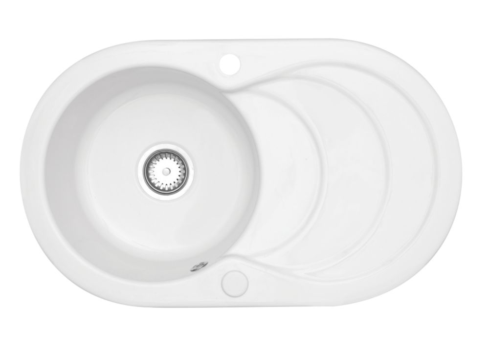 Image of Astracast Cascade Ceramic 1-Bowl Kitchen Sink w/Reversible Drainer