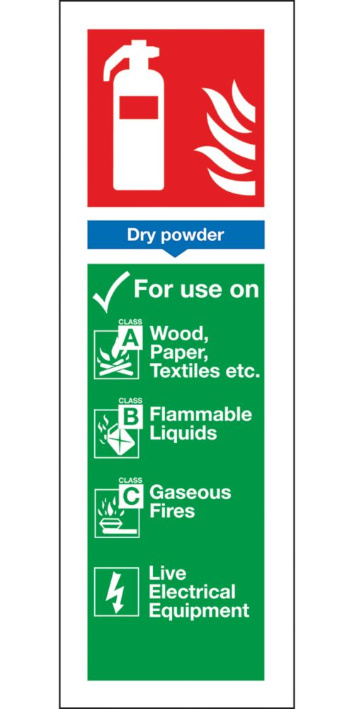 Image of Dry Powder Extinguisher ID Signs 280 x 90mm 100 Pack