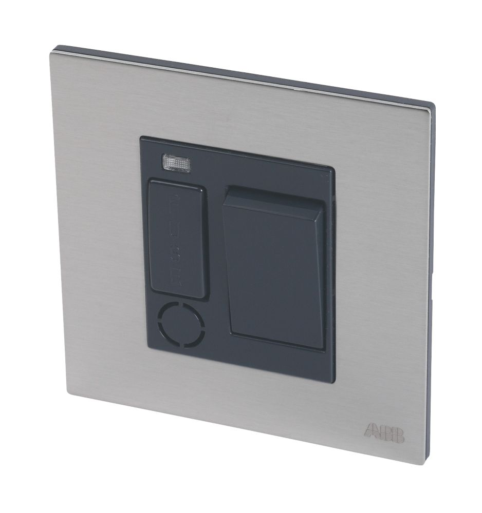 Image of ABB 13A Unswitched 1-Gang Fused Connection Unit Silk Black