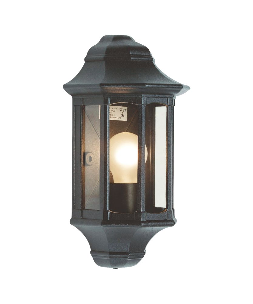 Image of Saxby 60W Satin Black Traditional Outdoor Wall Lantern