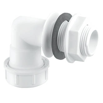 Image of McAlpine Bent Overflow Tank Connector White 22mm